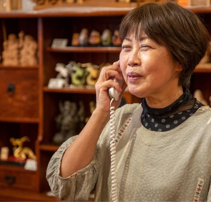 事前にお電話で来店日時をお伝えください。ご相談もお気軽にどうぞ。
